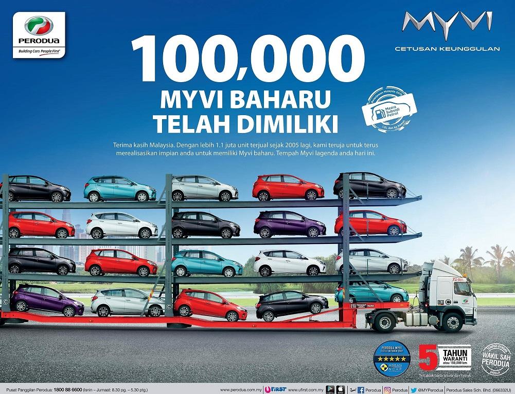 Perodua Myvi baru telah catat sejarah, 100,000 telah dimiliki