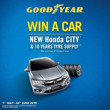Menang Honda City dan 10 tahun bekalan tayar melalui pembelian tayar Goodyear