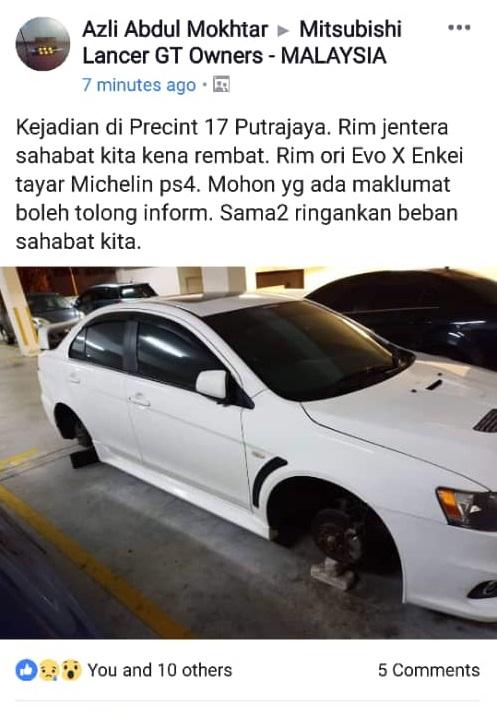rim hilang di Putrajaya