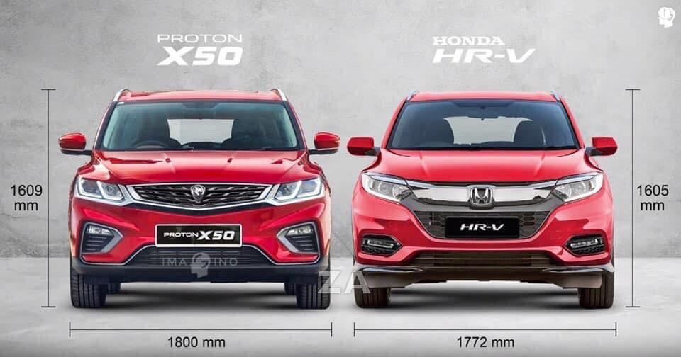 Perbandingan dimensi Proton X50 vs Honda HR-V